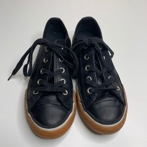 Converse Kids Black Leather Sneakers 13